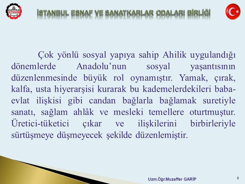 Uzm.Öğr.Muzaffer GARİP Çok yönlü sosyal yapıya sahip Ahilik uygulandığı dönemlerde Anadolu'nun sosyal yaşantısının düzenlenmesinde büyük rol oynamıştı