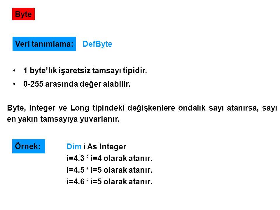Byte 1 byte'lık işaretsiz tamsayı tipidir. 0-255 arasında değer alabilir. Veri tanımlama: DefByte Byte, Integer ve Long tipindeki değişkenlere ondalık