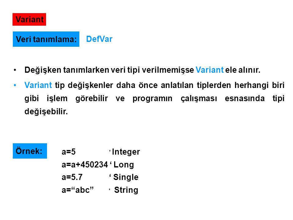 Variant Değişken tanımlarken veri tipi verilmemişse Variant ele alınır. Variant tip değişkenler daha önce anlatılan tiplerden herhangi biri gibi işlem