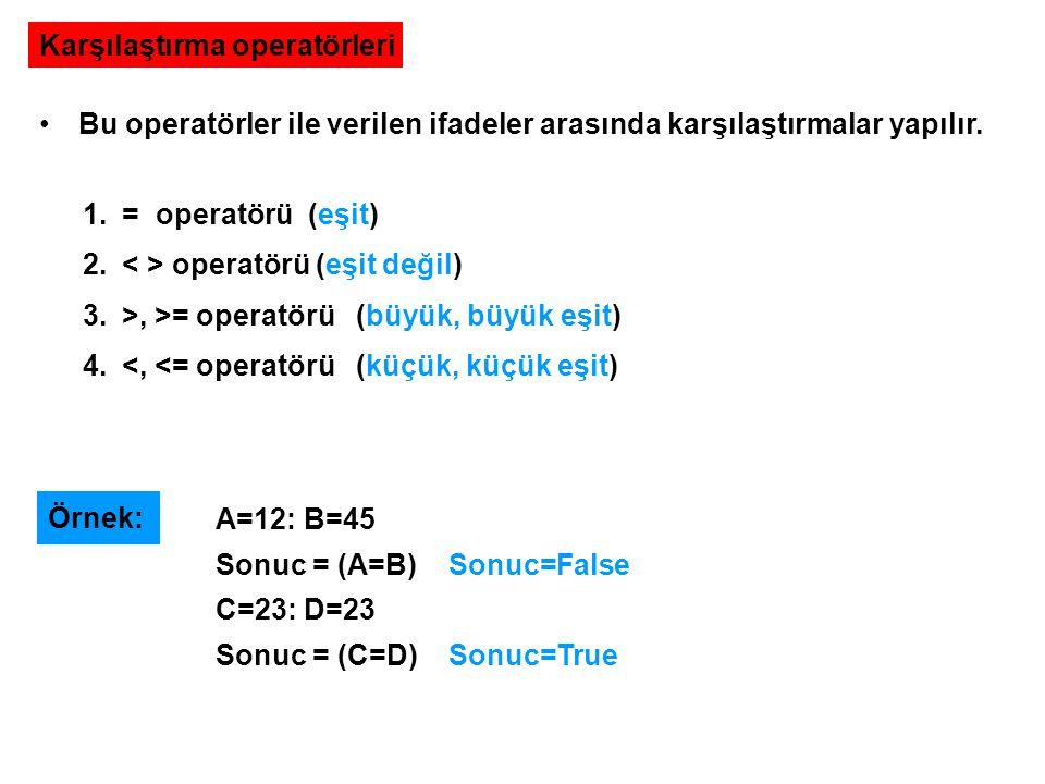 Karşılaştırma operatörleri Bu operatörler ile verilen ifadeler arasında karşılaştırmalar yapılır. 1.= operatörü (eşit) 2. operatörü (eşit değil) 3.>,