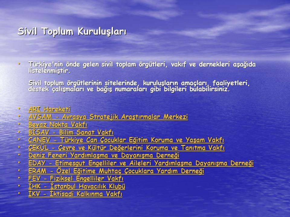 Sivil Toplum Kuruluşları Türkiye'nin önde gelen sivil toplam örgütleri, vakıf ve dernekleri aşağıda listelenmiştir. Sivil toplum örgütlerinin siteleri