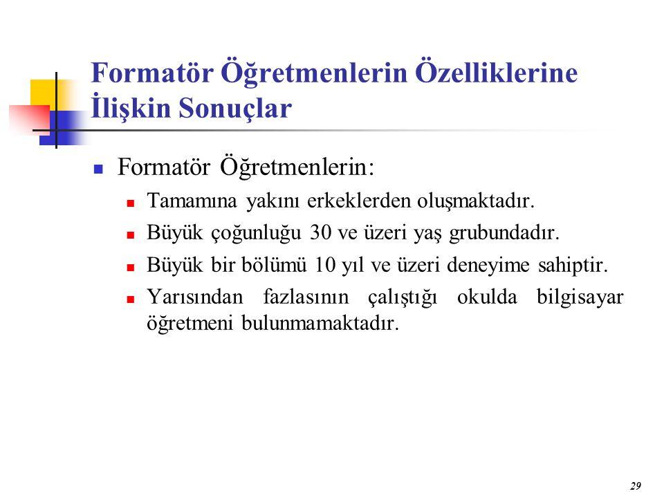 29 Formatör Öğretmenlerin Özelliklerine İlişkin Sonuçlar Formatör Öğretmenlerin: Tamamına yakını erkeklerden oluşmaktadır.