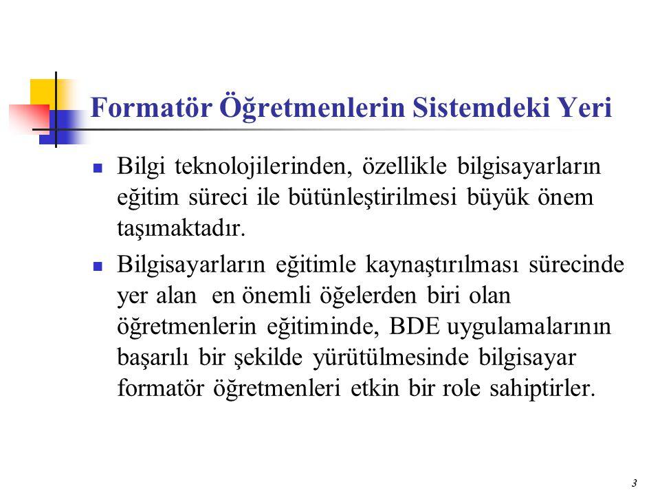 4 Türkiye'deki Araştırma Konuları Türkiye'de BDE konusunda yapılan araştırmalar incelendiğinde, bu konudaki çalışmaların genelde BDÖ ile geleneksel öğretim yöntemlerinin karşılaştırılması, öğretmen ve öğrencilerin BDE'ye yönelik görüşleri, BDE uygulamalarının değerlendirilmesi gibi konularda yoğunlaştığı görülmekte, formatör öğretmenlerle ilgili sınırlı sayıda araştırmaya rastlanmaktadır.
