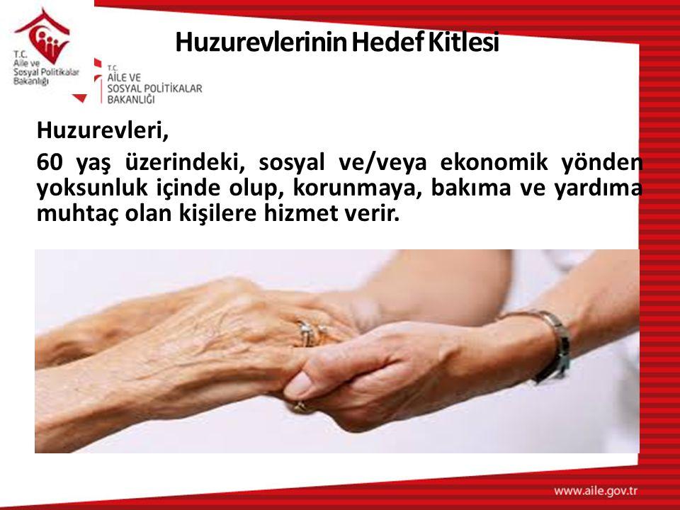 Huzurevleri, 60 yaş üzerindeki, sosyal ve/veya ekonomik yönden yoksunluk içinde olup, korunmaya, bakıma ve yardıma muhtaç olan kişilere hizmet verir.