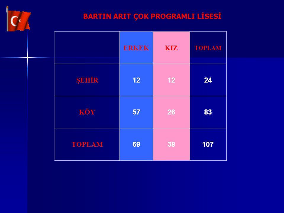 BARTIN ARIT ÇOK PROGRAMLI LİSESİ ERKEKKIZ TOPLAM ŞEHİR 12 24 KÖY 572683 TOPLAM 6938107