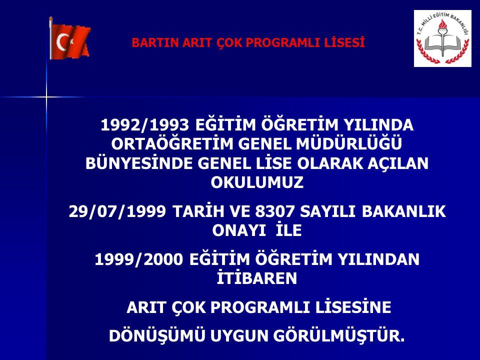 1992/1993 EĞİTİM ÖĞRETİM YILINDA ORTAÖĞRETİM GENEL MÜDÜRLÜĞÜ BÜNYESİNDE GENEL LİSE OLARAK AÇILAN OKULUMUZ 29/07/1999 TARİH VE 8307 SAYILI BAKANLIK ONA