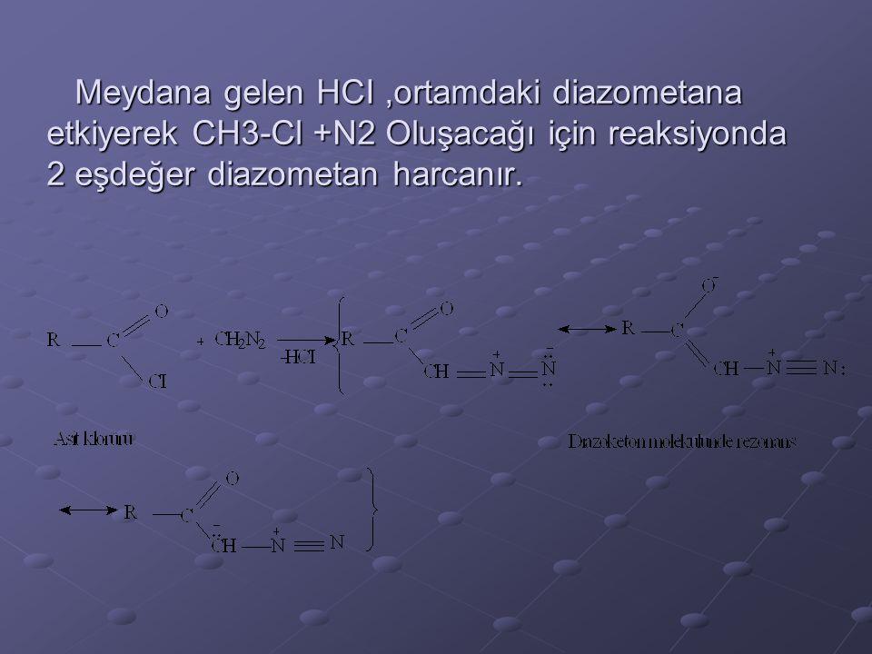 Meydana gelen HCI,ortamdaki diazometana etkiyerek CH3-Cl +N2 Oluşacağı için reaksiyonda 2 eşdeğer diazometan harcanır. Meydana gelen HCI,ortamdaki dia
