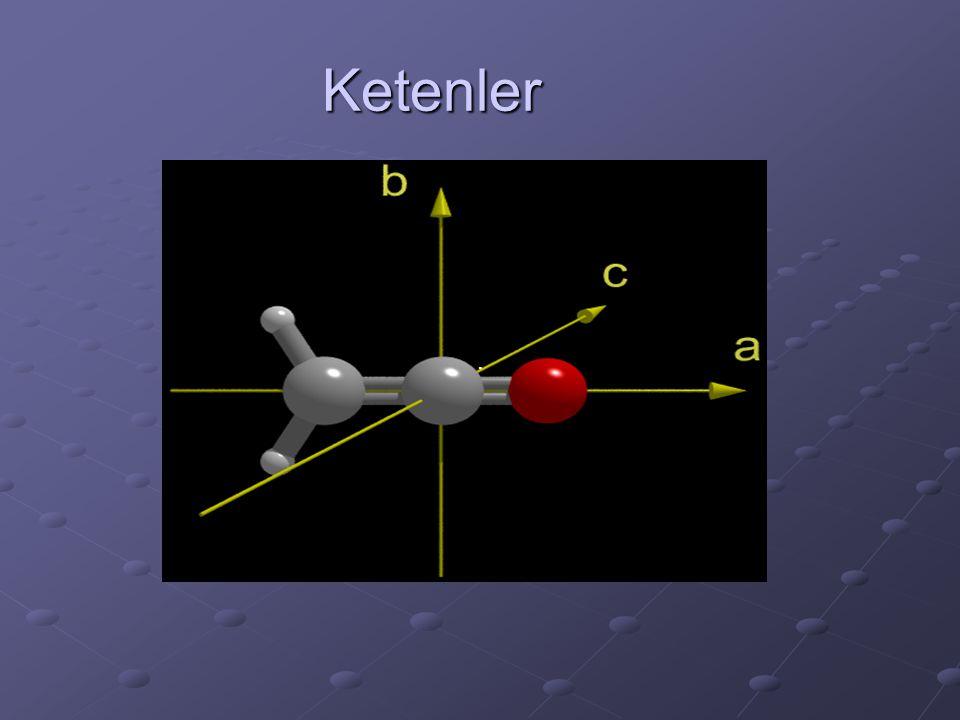 Bu yöntemlere, karboksilik asidin tiyonil klorür veya fosfor pentaklorürle asit klorürü yapılır, diazometanla etkileştirilir; Wolff çevrilmesiyle keten elde edilir.