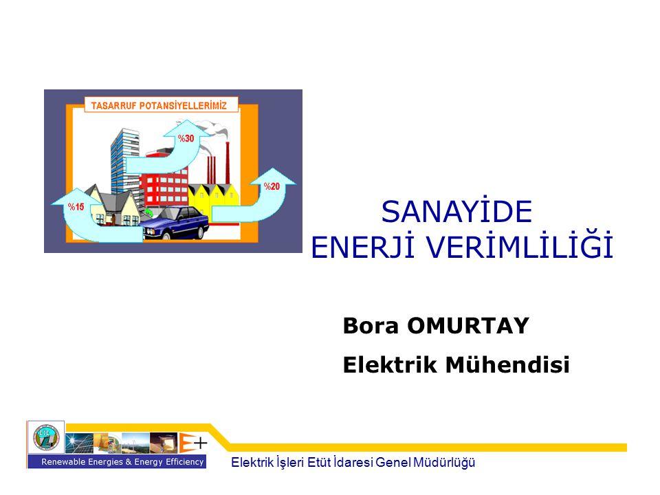 SANAYİDE ENERJİ VERİMLİLİĞİ Elektrik İşleri Etüt İdaresi Genel Müdürlüğü Bora OMURTAY Elektrik Mühendisi