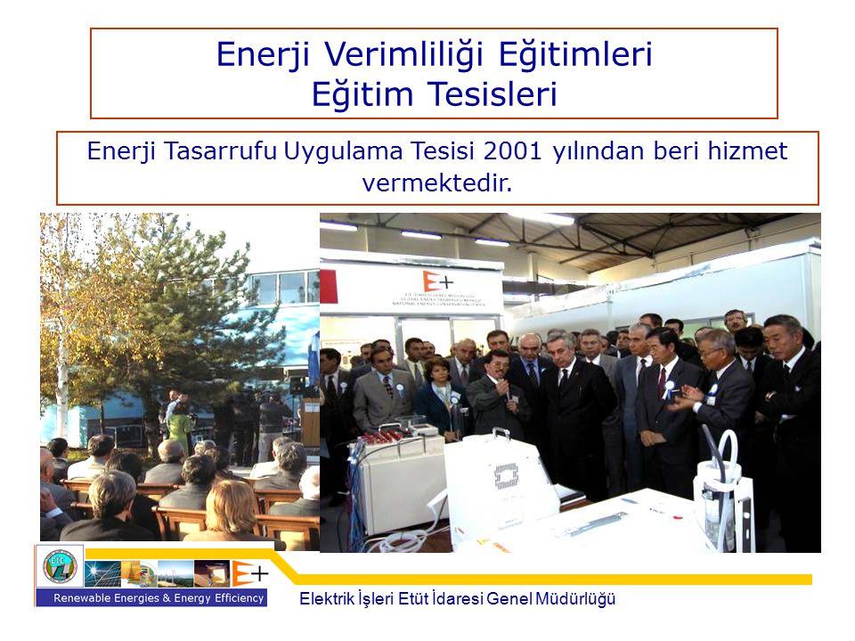 Enerji Tasarrufu Uygulama Tesisi 2001 yılından beri hizmet vermektedir. Elektrik İşleri Etüt İdaresi Genel Müdürlüğü Enerji Verimliliği Eğitimleri Eği