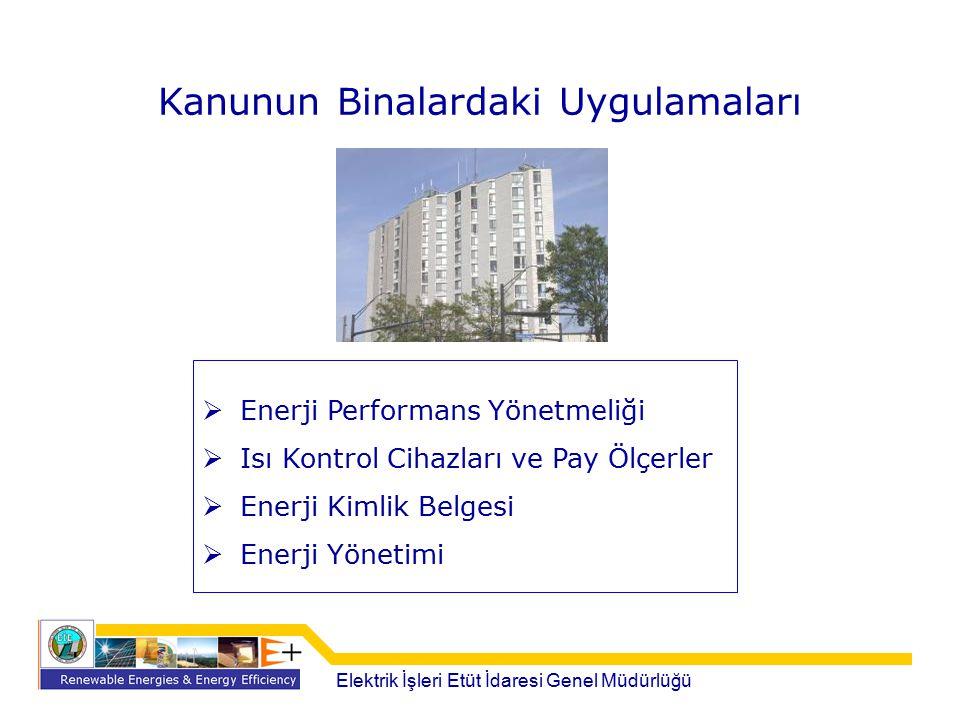 Kanunun Binalardaki Uygulamaları  Enerji Performans Yönetmeliği  Isı Kontrol Cihazları ve Pay Ölçerler  Enerji Kimlik Belgesi  Enerji Yönetimi Ele
