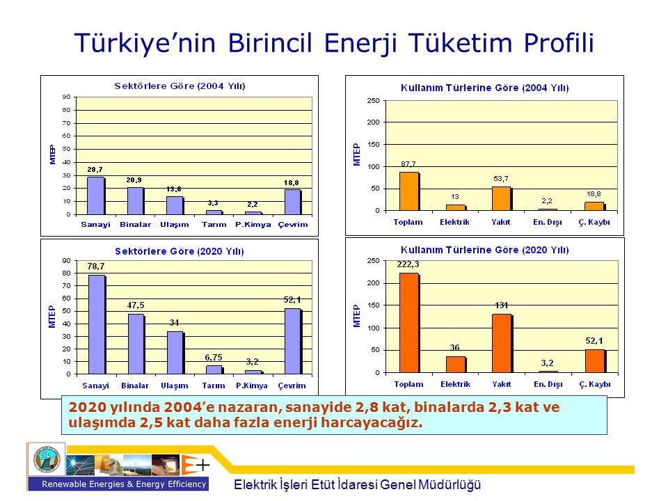 Türkiye'nin Birincil Enerji Tüketim Profili 2020 yılında 2004'e nazaran, sanayide 2,8 kat, binalarda 2,3 kat ve ulaşımda 2,5 kat daha fazla enerji har