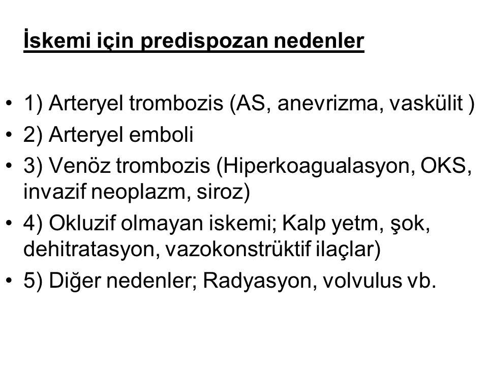 İskemi için predispozan nedenler 1) Arteryel trombozis (AS, anevrizma, vaskülit ) 2) Arteryel emboli 3) Venöz trombozis (Hiperkoagualasyon, OKS, invaz