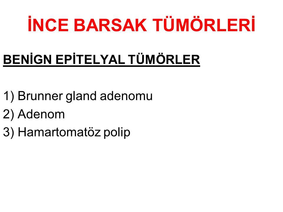 İNCE BARSAK TÜMÖRLERİ BENİGN EPİTELYAL TÜMÖRLER 1) Brunner gland adenomu 2) Adenom 3) Hamartomatöz polip