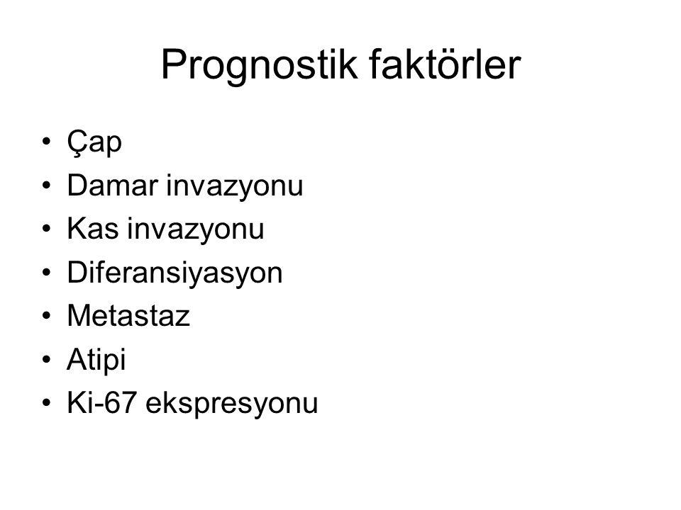Prognostik faktörler Çap Damar invazyonu Kas invazyonu Diferansiyasyon Metastaz Atipi Ki-67 ekspresyonu