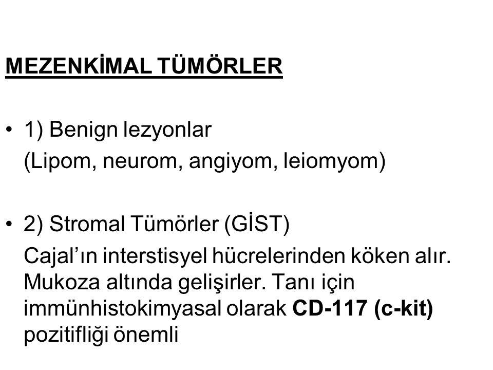MEZENKİMAL TÜMÖRLER 1) Benign lezyonlar (Lipom, neurom, angiyom, leiomyom) 2) Stromal Tümörler (GİST) Cajal'ın interstisyel hücrelerinden köken alır.