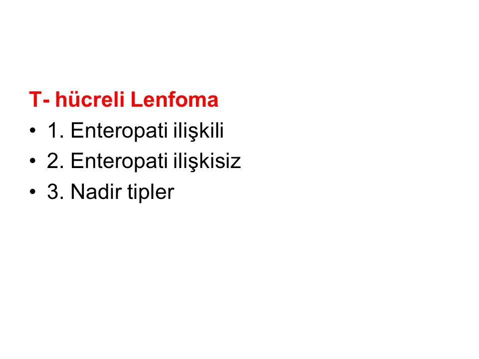 T- hücreli Lenfoma 1. Enteropati ilişkili 2. Enteropati ilişkisiz 3. Nadir tipler