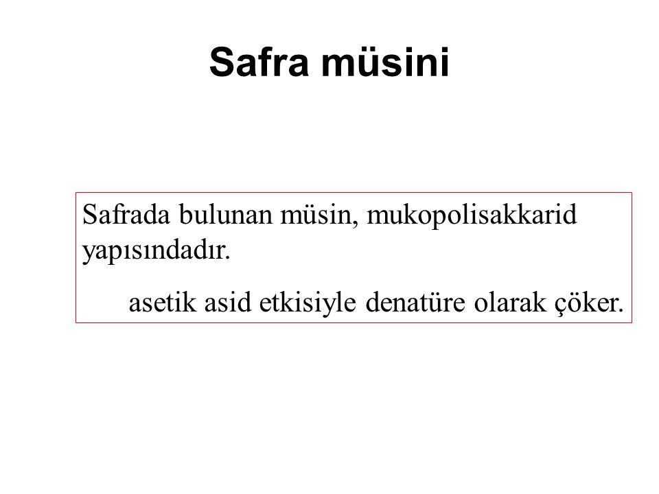 Safra müsini Safrada bulunan müsin, mukopolisakkarid yapısındadır.