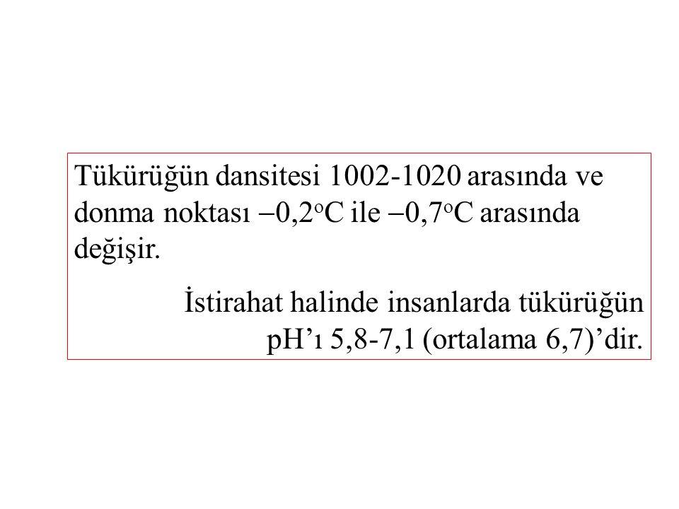 Tükürüğün dansitesi 1002-1020 arasında ve donma noktası  0,2 o C ile  0,7 o C arasında değişir.
