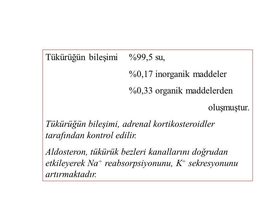 Tükürükte bulunan inorganik maddeler 20-60 mEq/L Na + 13-16 mEq/L K + %6-20 mg Ca 2+ 20-40 mEq/L Cl  10-20 mEq/L HCO 3  tır.