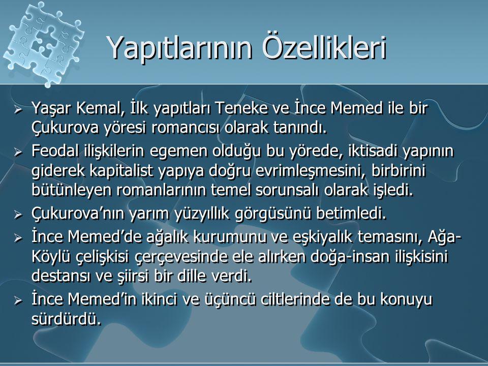 Yapıtlarının Özellikleri  Yaşar Kemal, İlk yapıtları Teneke ve İnce Memed ile bir Çukurova yöresi romancısı olarak tanındı.