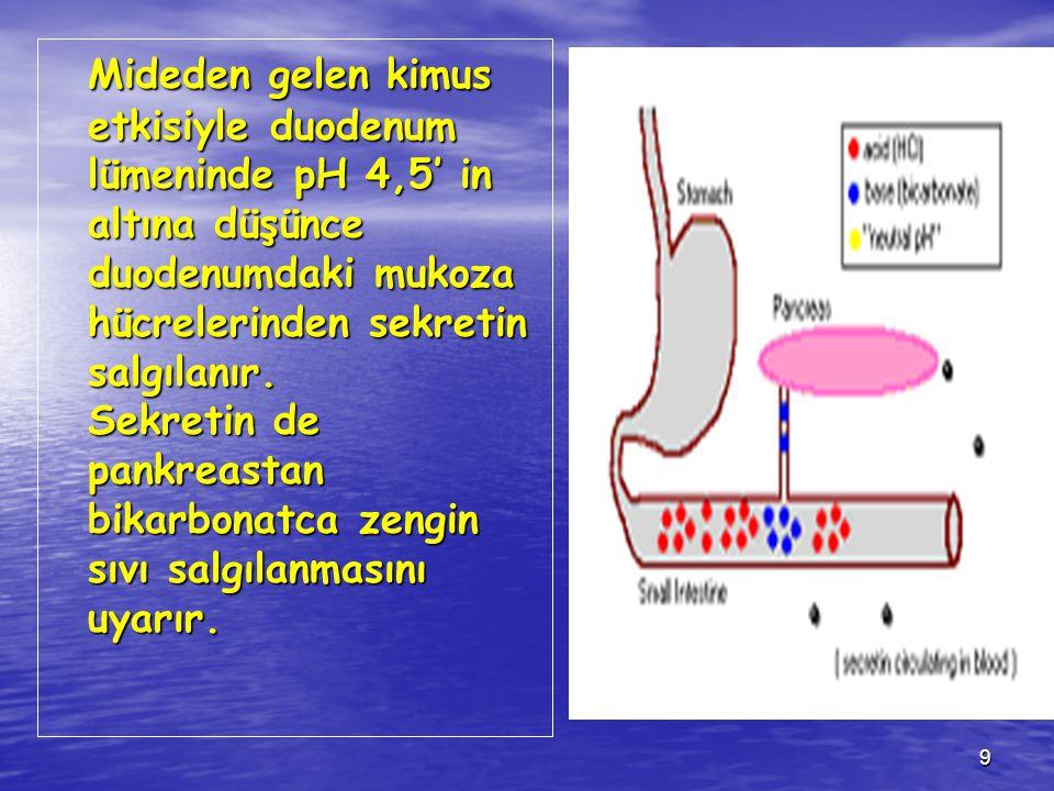9 Mideden gelen kimus etkisiyle duodenum lümeninde pH 4,5' in altına düşünce duodenumdaki mukoza hücrelerinden sekretin salgılanır. Sekretin de pankre