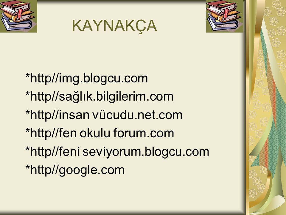 KAYNAKÇA *http//img.blogcu.com *http//sağlık.bilgilerim.com *http//insan vücudu.net.com *http//fen okulu forum.com *http//feni seviyorum.blogcu.com *http//google.com