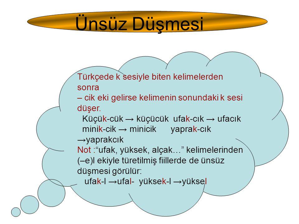 Ünsüz Düşmesi Türkçede k sesiyle biten kelimelerden sonra – cik eki gelirse kelimenin sonundaki k sesi düşer. Küçük-cük → küçücük ufak-cık → ufacık mi