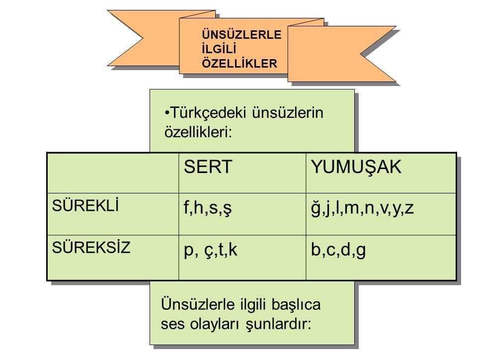 SERTYUMUŞAK SÜREKLİ f,h,s,şğ,j,l,m,n,v,y,z SÜREKSİZ p, ç,t,kb,c,d,g Türkçedeki ünsüzlerin özellikleri: Ünsüzlerle ilgili başlıca ses olayları şunlardı