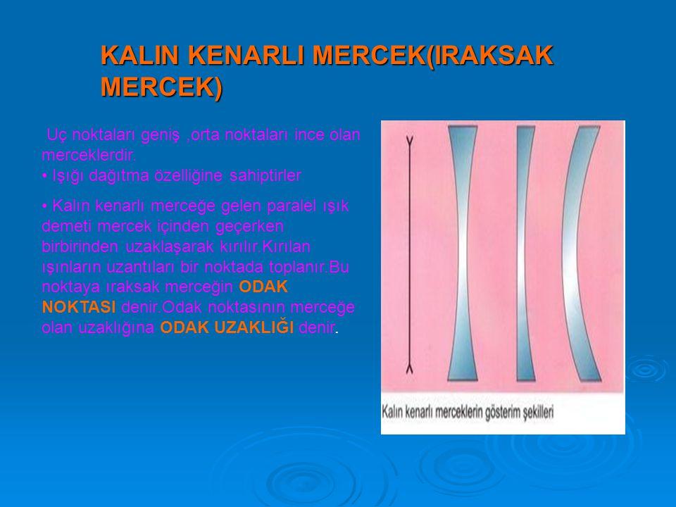 KALIN KENARLI MERCEK(IRAKSAK MERCEK) Uç noktaları geniş,orta noktaları ince olan merceklerdir.