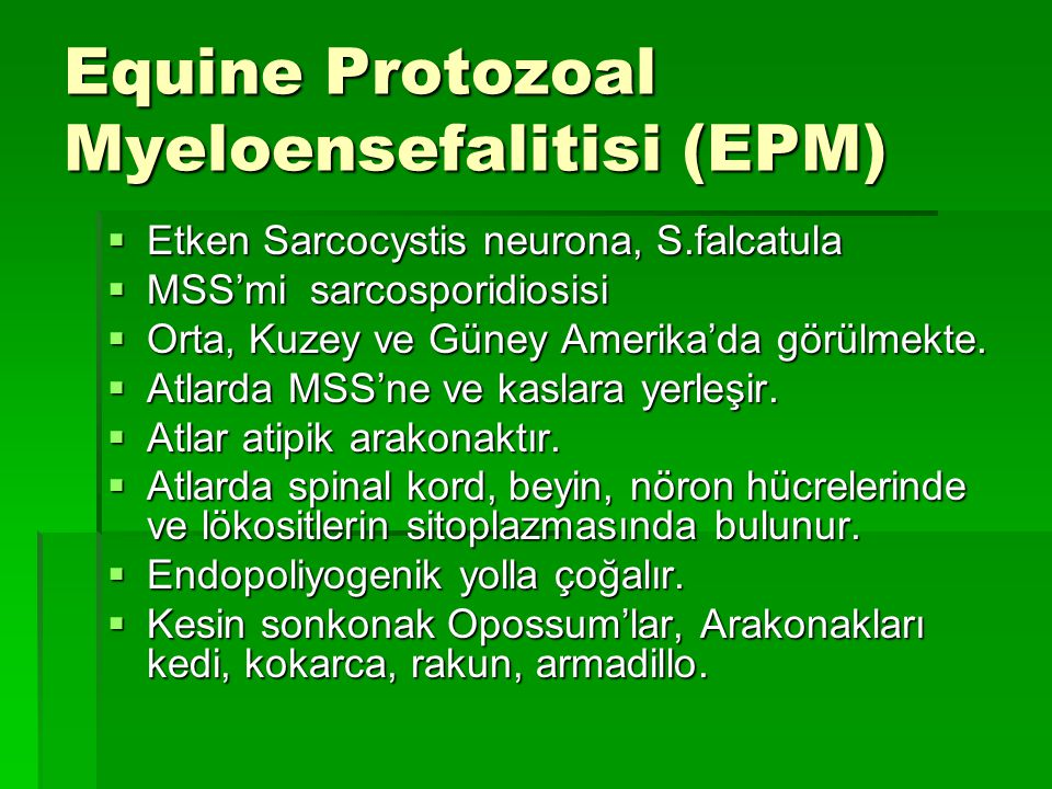 Equine Protozoal Myeloensefalitisi (EPM)  Etken Sarcocystis neurona, S.falcatula  MSS'mi sarcosporidiosisi  Orta, Kuzey ve Güney Amerika'da görülme