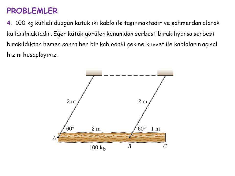 PROBLEMLER 4. 100 kg kütleli düzgün kütük iki kablo ile taşınmaktadır ve şahmerdan olarak kullanılmaktadır. Eğer kütük görülen konumdan serbest bırakı