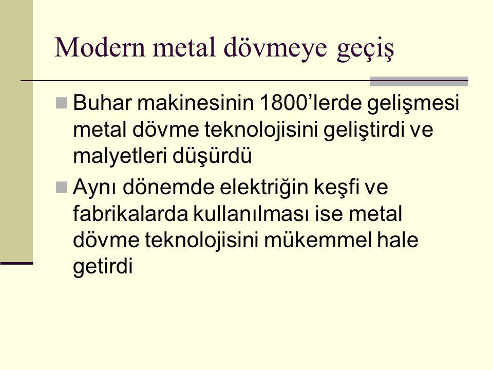 Modern metal dövmeye geçiş Buhar makinesinin 1800'lerde gelişmesi metal dövme teknolojisini geliştirdi ve malyetleri düşürdü Aynı dönemde elektriğin keşfi ve fabrikalarda kullanılması ise metal dövme teknolojisini mükemmel hale getirdi