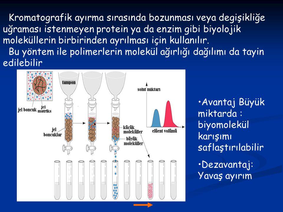 Kromatografik ayırma sırasında bozunması veya degişikliğe uğraması istenmeyen protein ya da enzim gibi biyolojik moleküllerin birbirinden ayrılması için kullanılır.