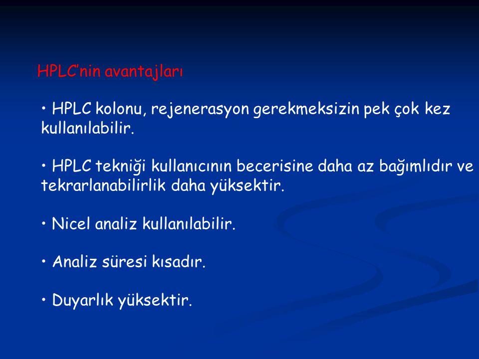 HPLC kolonu, rejenerasyon gerekmeksizin pek çok kez kullanılabilir.