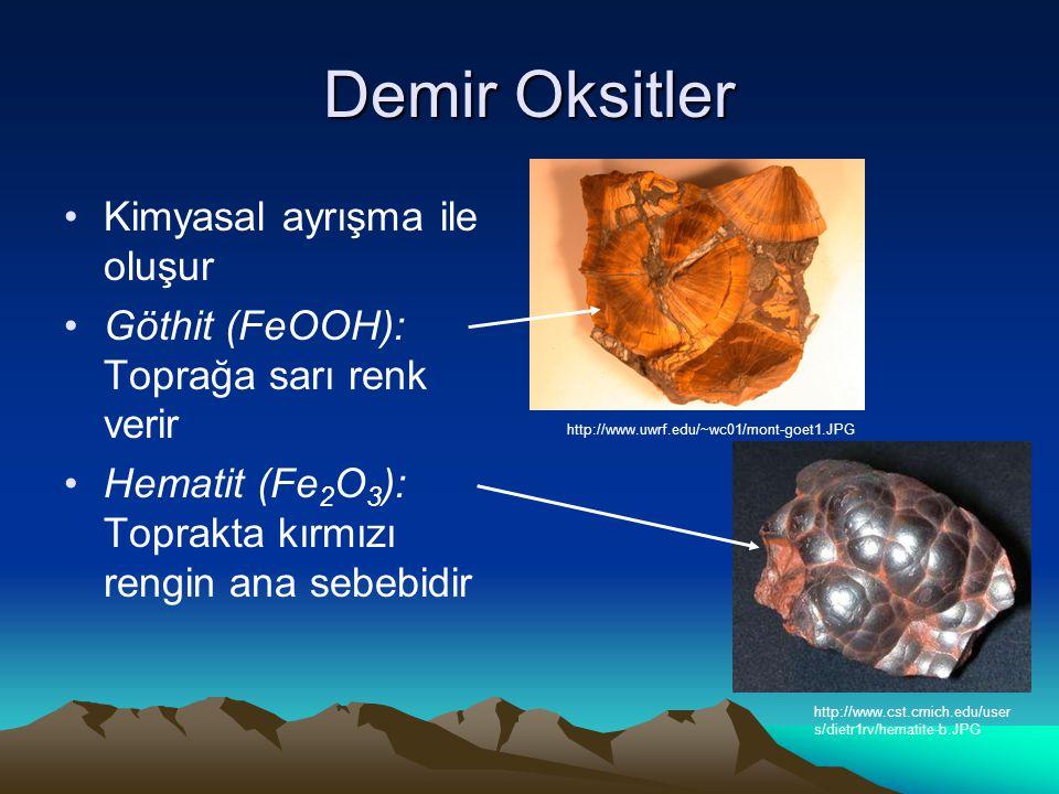 Demir Oksitler Kimyasal ayrışma ile oluşur Göthit (FeOOH): Toprağa sarı renk verir Hematit (Fe 2 O 3 ): Toprakta kırmızı rengin ana sebebidir http://www.uwrf.edu/~wc01/mont-goet1.JPG http://www.cst.cmich.edu/user s/dietr1rv/hematite-b.JPG