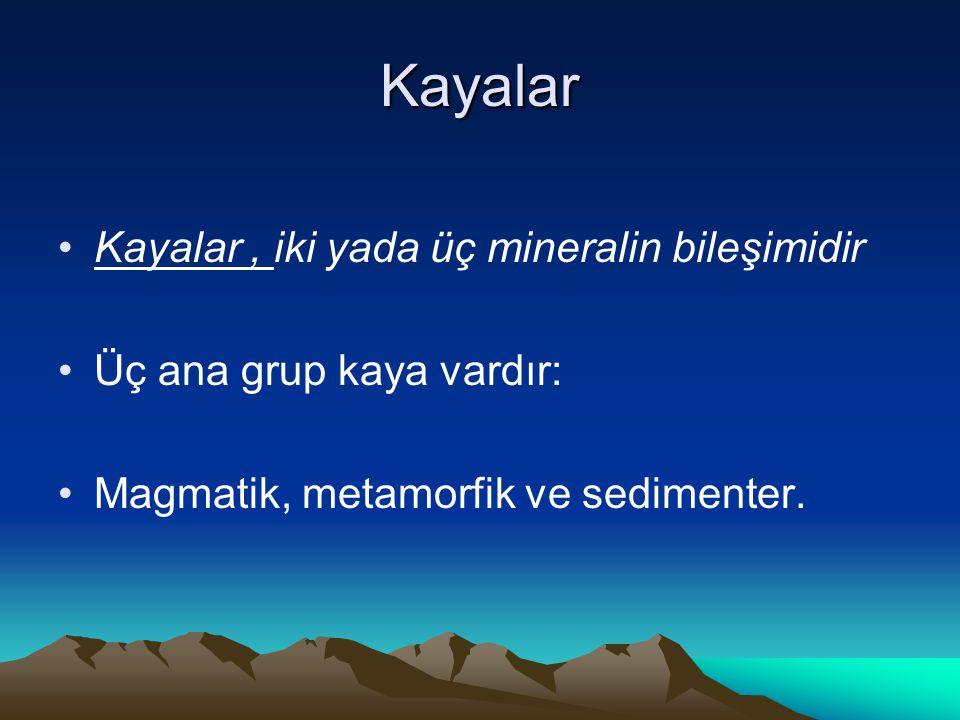 Kayalar Kayalar, iki yada üç mineralin bileşimidir Üç ana grup kaya vardır: Magmatik, metamorfik ve sedimenter.
