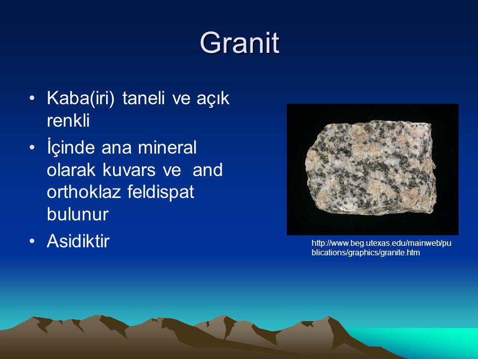 Granit Kaba(iri) taneli ve açık renkli İçinde ana mineral olarak kuvars ve and orthoklaz feldispat bulunur Asidiktir http://www.beg.utexas.edu/mainweb/pu blications/graphics/granite.htm