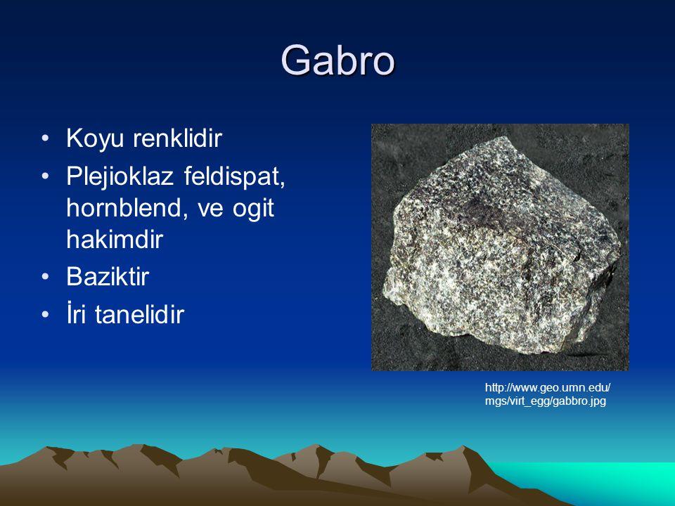 Gabro Koyu renklidir Plejioklaz feldispat, hornblend, ve ogit hakimdir Baziktir İri tanelidir http://www.geo.umn.edu/ mgs/virt_egg/gabbro.jpg