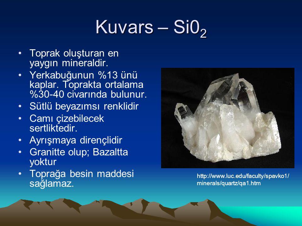 Kuvars – Si0 2 Toprak oluşturan en yaygın mineraldir.