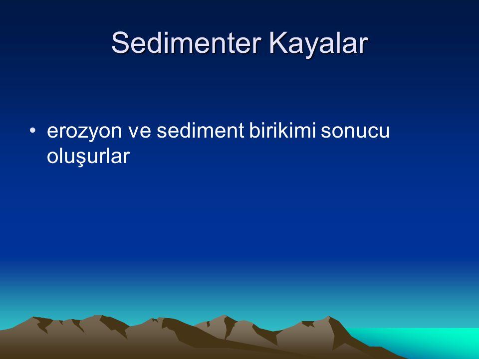 Sedimenter Kayalar erozyon ve sediment birikimi sonucu oluşurlar