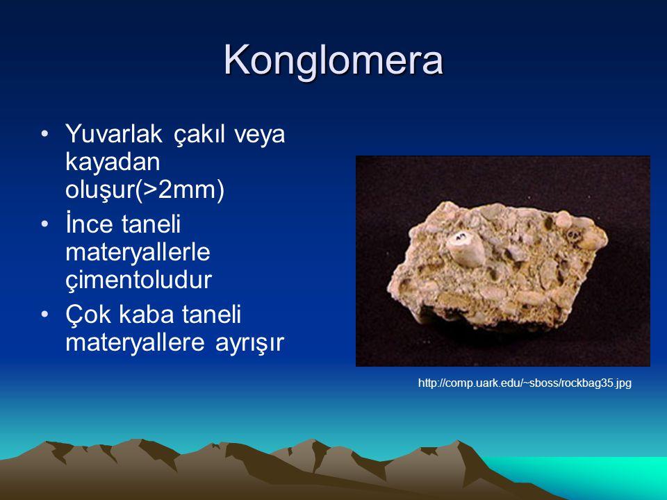 Konglomera Yuvarlak çakıl veya kayadan oluşur(>2mm) İnce taneli materyallerle çimentoludur Çok kaba taneli materyallere ayrışır http://comp.uark.edu/~sboss/rockbag35.jpg
