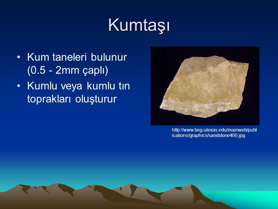Kumtaşı Kum taneleri bulunur (0.5 - 2mm çaplı) Kumlu veya kumlu tın toprakları oluşturur http://www.beg.utexas.edu/mainweb/publ ications/graphics/sandstone400.jpg