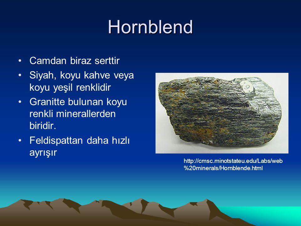 Hornblend Camdan biraz serttir Siyah, koyu kahve veya koyu yeşil renklidir Granitte bulunan koyu renkli minerallerden biridir.