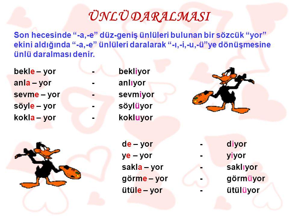 ( 2006 – DPY ) İki heceli bazı sözcükler ünlüyle başlayan ek aldıklarında, ikinci hecedeki ünlü düşer. Aşağıdaki cümlelerin hangisinde bu kurala uyulmamıştır.