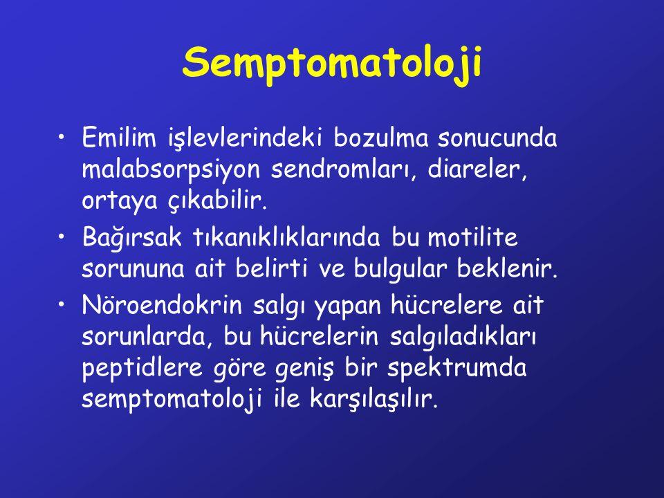 Semptomatoloji Emilim işlevlerindeki bozulma sonucunda malabsorpsiyon sendromları, diareler, ortaya çıkabilir. Bağırsak tıkanıklıklarında bu motilite
