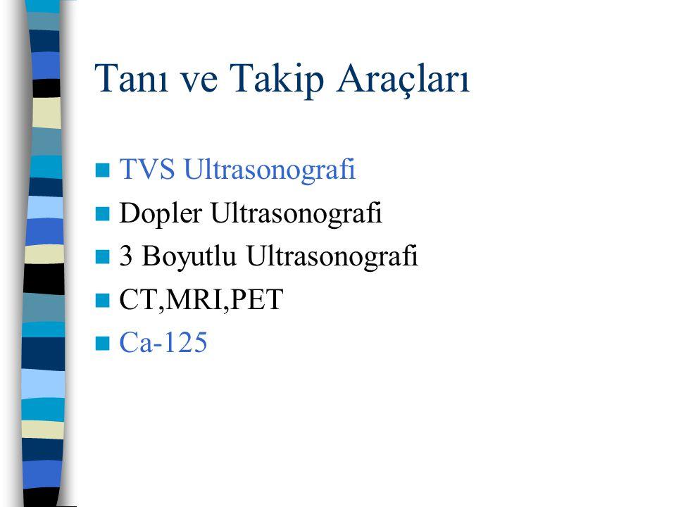 Tanı ve Takip Araçları TVS Ultrasonografi Dopler Ultrasonografi 3 Boyutlu Ultrasonografi CT,MRI,PET Ca-125
