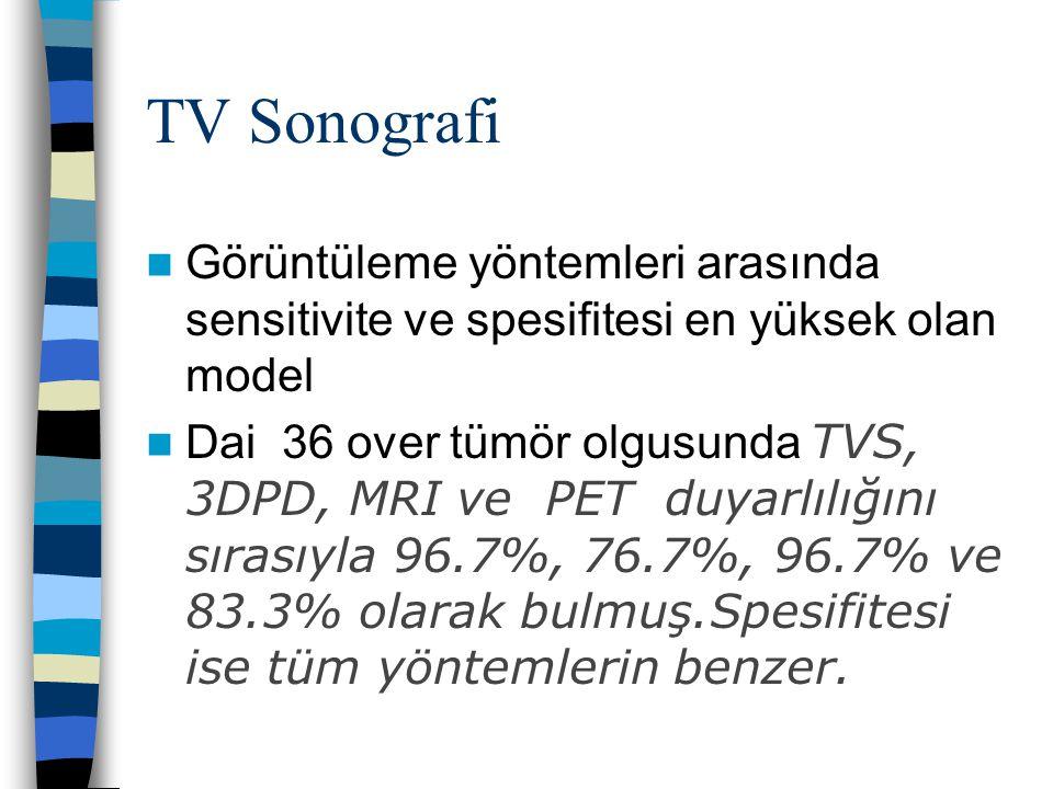 TV Sonografi Görüntüleme yöntemleri arasında sensitivite ve spesifitesi en yüksek olan model Dai 36 over tümör olgusunda TVS, 3DPD, MRI ve PET duyarlı