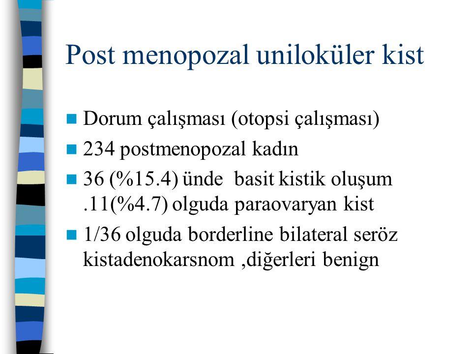 Post menopozal uniloküler kist Dorum çalışması (otopsi çalışması) 234 postmenopozal kadın 36 (%15.4) ünde basit kistik oluşum.11(%4.7) olguda paraovar