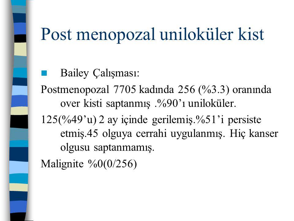 Post menopozal uniloküler kist Bailey Çalışması: Postmenopozal 7705 kadında 256 (%3.3) oranında over kisti saptanmış.%90'ı uniloküler. 125(%49'u) 2 ay